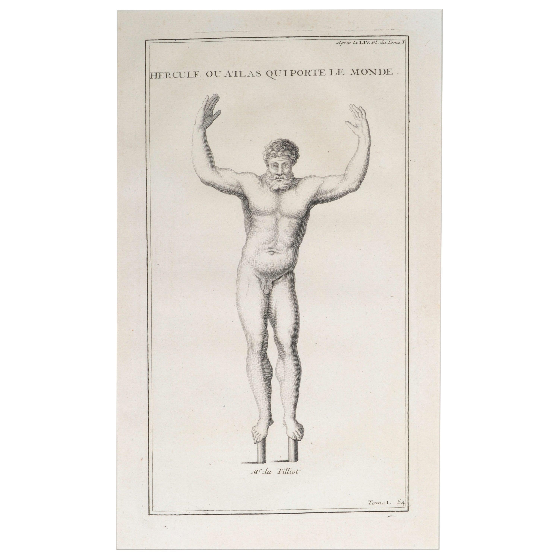 Hercules as Atlas a Copperplate Engraving