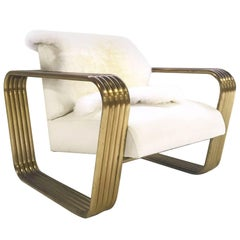 Circa 1975 Jay Spectre Lounge Chair with New Zealand Sheepskin Throw