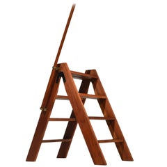 Midcentury Handcrafted Danish Step Ladder in Teak and Brass