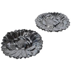 Pair of Chinese Export Silver Flower Dishes by Pritchard & Co.