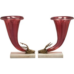 Pair of Large Marble Bronze and Ruby Glass Cornucopias, circa 1840