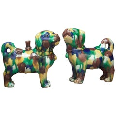 Pair of Chinese San-T'Sai Glazed Dogs, circa 1860