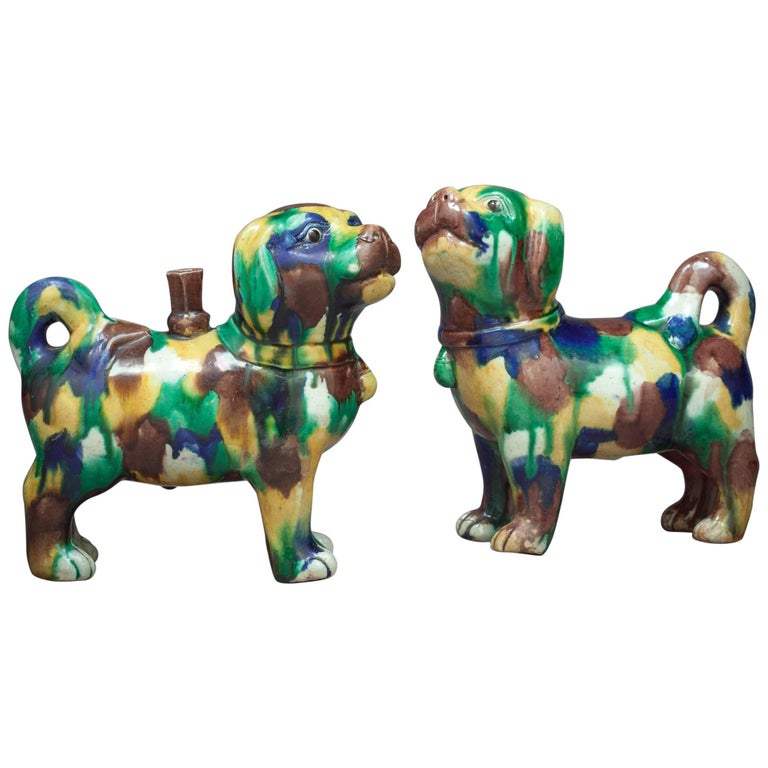 Pair of Chinese San-T'Sai Glazed Dogs, circa 1860 For Sale