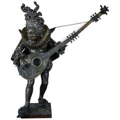 Italian Parcel-Gilt Bronze Figure of a Lute Player, 19th Century