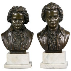 Pair of Bronze-Mounted Busts of Beethoven and Mozart on Marble Stands circa 1880