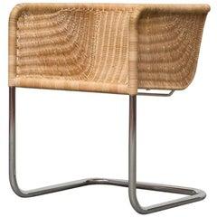 Preben Fabricius Rattan and Chrome Chair
