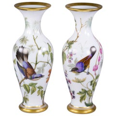 Pair of French Opaline Vases, Baccarat, circa 1835