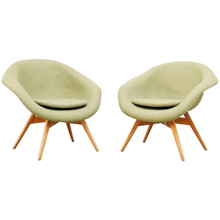 Pale Green Bucket Lounge Chair by Miroslav Navrátil for Vertex For Sale