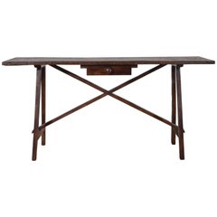 Italian Reproduction One Drawer Trestle Table or Desk, 18th Century Style