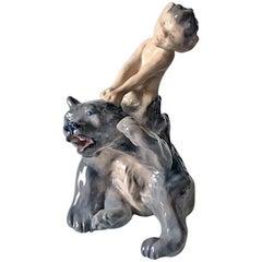 Royal Copenhagen Figurine Faun/Pan Pulling Bear Ear #1804