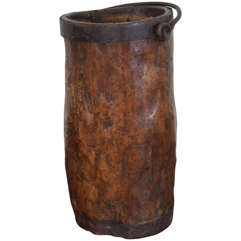 French Carved Wood and Iron Bound Handled Bucket, 18th-19th Century