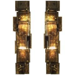 Pair of Modern Luxury Dark Smoky Rock Crystal Quartz Sconces