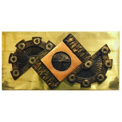 1970s Brutalist Metal Wall Plaque in Copper and Brass by Stephen Chun