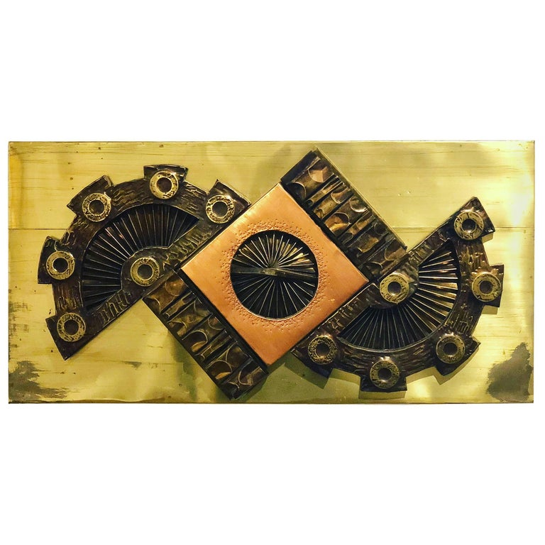 1970s Brutalist Metal Wall Plaque in Copper and Brass by Robert Moore