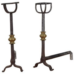 French Early 19th Century Wrought Iron and Brass Andirons