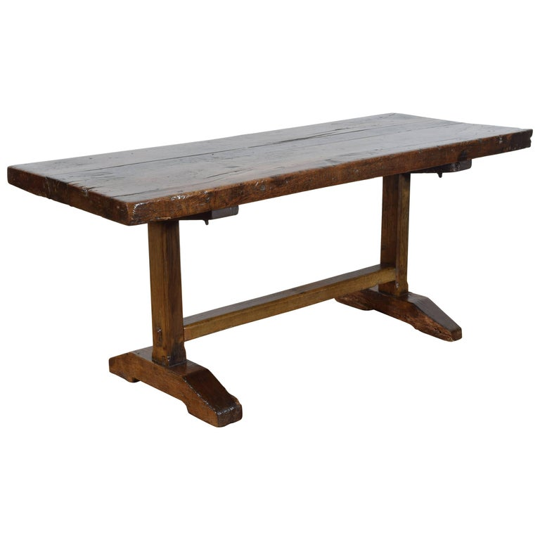 French Oak and Chestnut Monastery Table, Early 18th Century