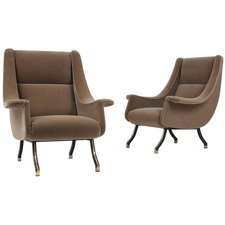 Italian Mid-Century Modern Lounge Chairs, Pair