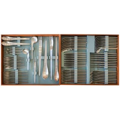 Early 77-Piece, Set of Arne Jacobsen for Anton Michelsen Flatware, 1969