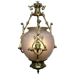 Early 20th Century Gilt-Bronze and Opaline Glass Hanging Lantern with Lion Pelts