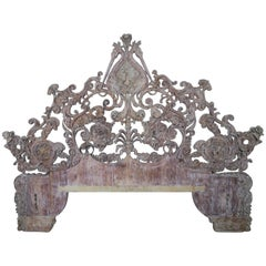 Italian Monumental Rococo Style Carved Wood Headboard