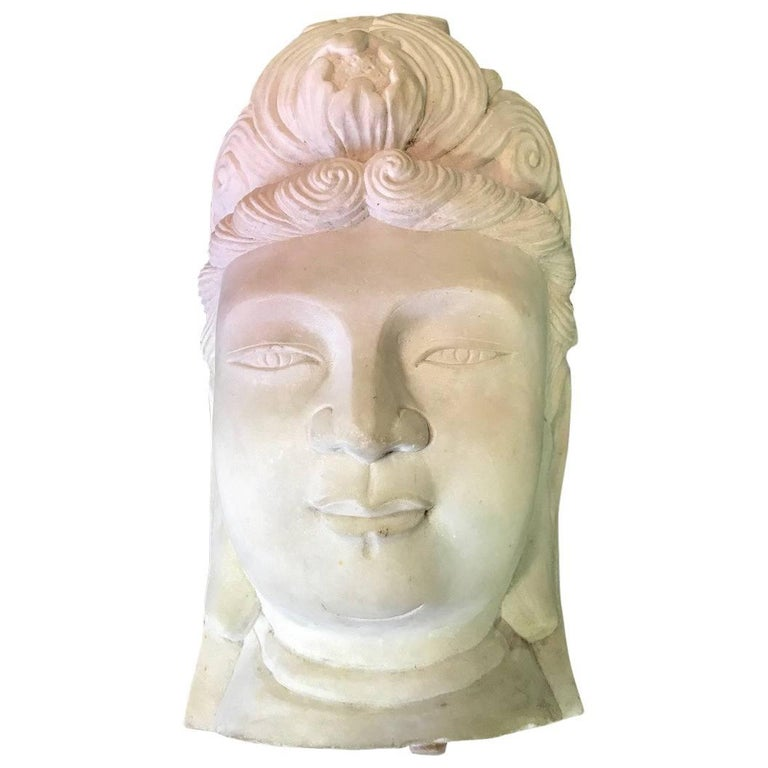 Large, Carved Marble Bust/ Head of Quan 'Kuan/ Kwan' Yin