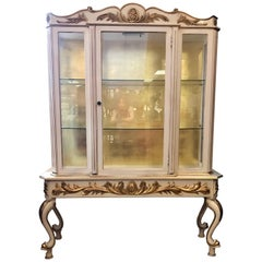 Italian Cream Painted and Gold Gilt Display Cabinet Vitrine
