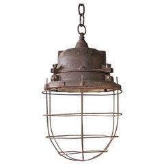 Vintage Industrial Caged Hanging Light