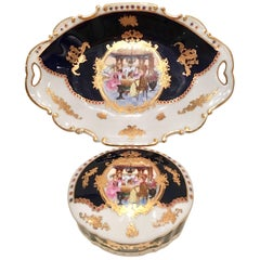 20th Century French Sevres Limoges Style Cobalt & Gold Tray & Box Set of Three
