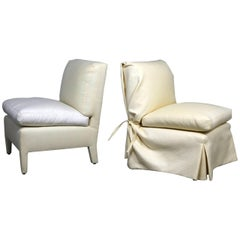 Donghia Slipper Chair by Angelo Donghia, One Slipcovered One Not