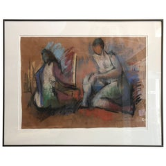 Hans Burkhardt Pastel on Paper Figurative Abstract Drawing, 1943