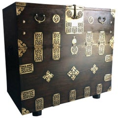 Antique Korean Blanket Chest Trunk Elm Brass 19th Century, circa 1870
