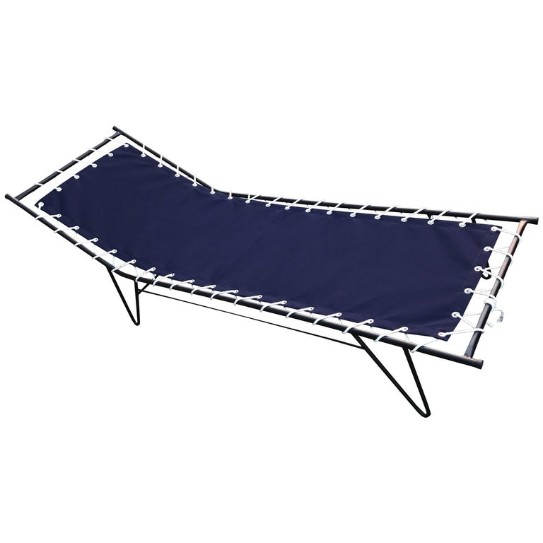 1950s Mid-Century Modern Patio Chaise Iron and Canvas