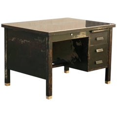 1920s General Fireproofing Tanker Desk with Distressed Patina