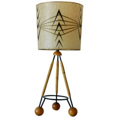 1950s Faux Bamboo and Metal Tripod Lamp with Painted Whipstitch Shade