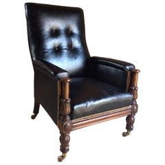 Antique Library Chair Lounge Club Leather Mahogany William IV, 1830