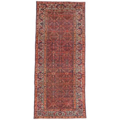 Antique Persian Malayer Gallery Rug, Wide Hallway Runner