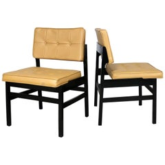 Pair of Hibriten Blackened Wood and Faux Leather Mid-Century Modern Chairs