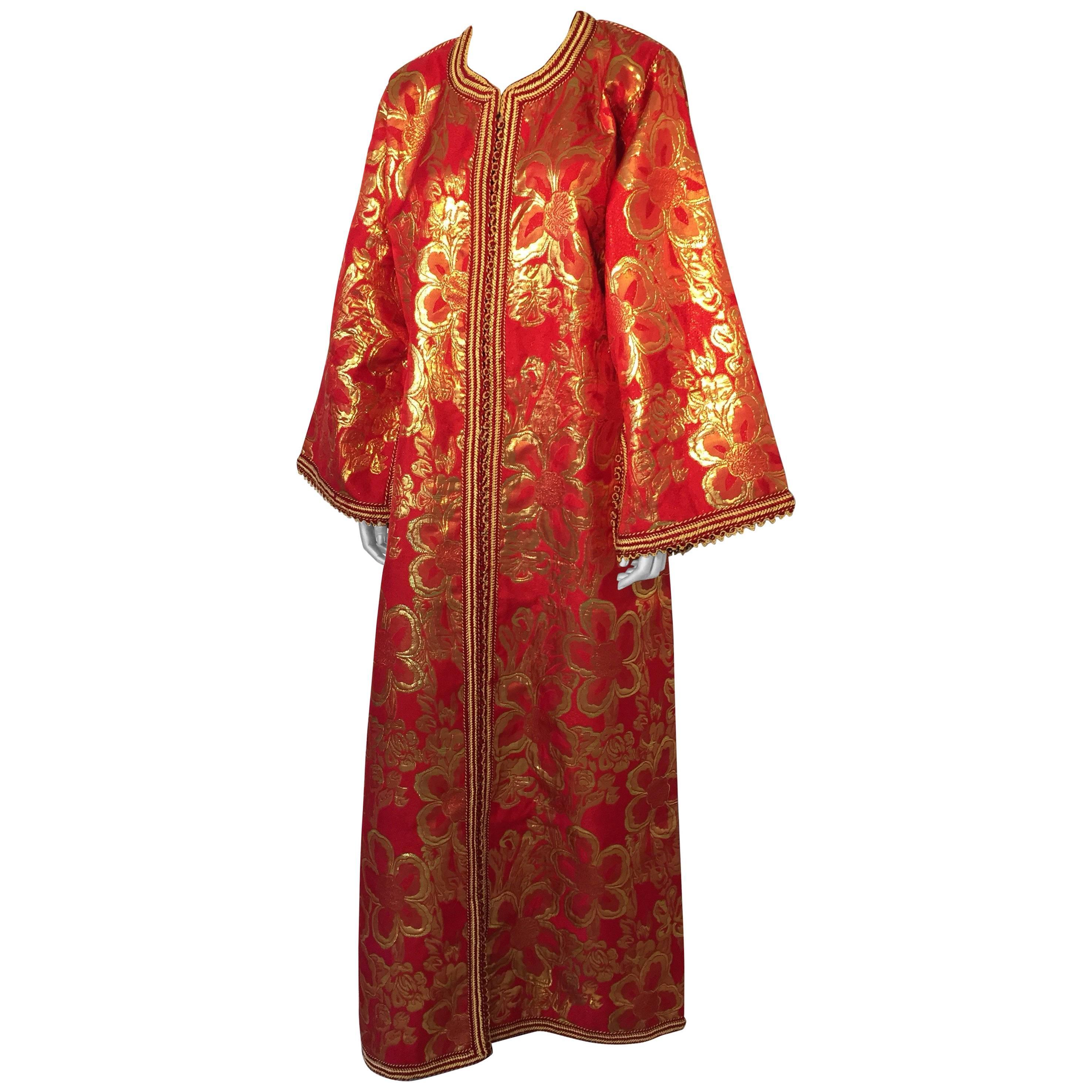 Vintage Moroccan Kaftan 1970s Red and Gold Floral Brocade Caftan Maxi Dress