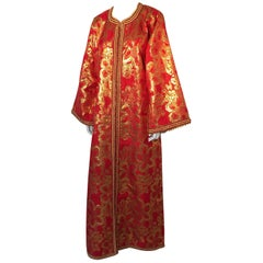 Vintage Moroccan Kaftan 1970s Red and Gold Floral Brocade Caftan Maxi Dress