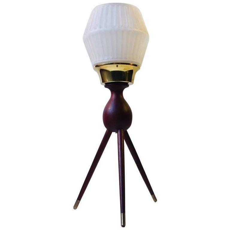 Midcentury Danish Tripod Table Lamp in Teak, Brass and Glass, 1950s