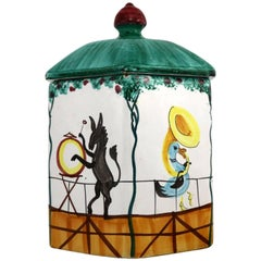 Midcentury Italian Octagonal Pottery Cookie Jar Decorated with an Animal Brass