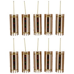 1960s Danish Teak Ceiling Lights / Chandeliers, Colorful Details.  10 available!