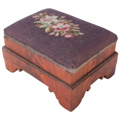 Antique American Empire Flame Mahogany Floral Needlepoint Foot Stool, circa 1850