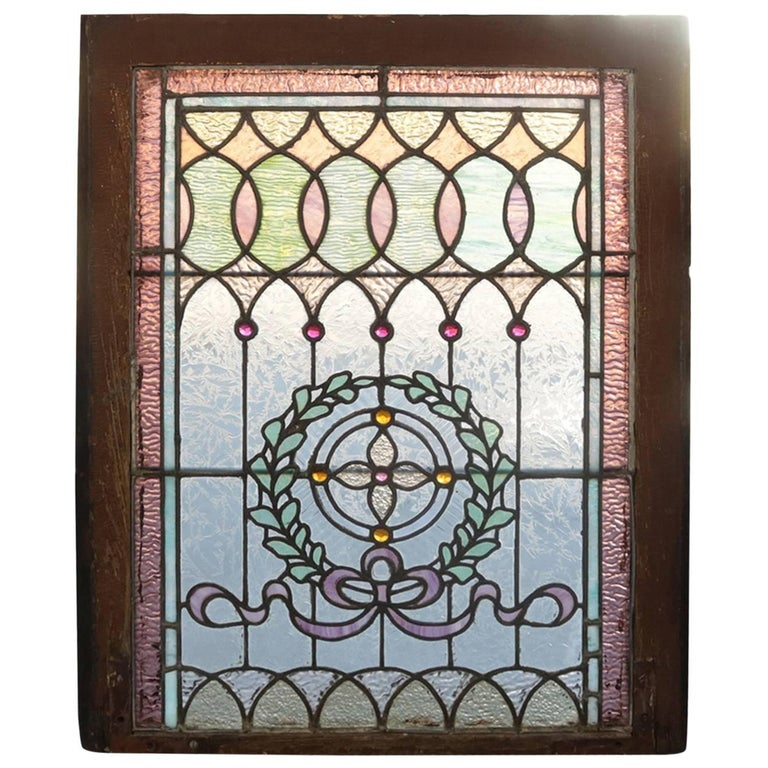 Architectural Leaded Stained & Jewelled Glass Window, Laurel Wreath, circa 1880