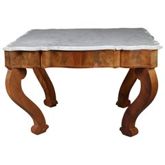 Antique American Empire Scalloped Flame Mahogany Marble Top Coffee Table