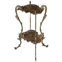 Antique French Rococo Gilt Two-Tier Scroll and Foliate Plant Stand, circa 1880