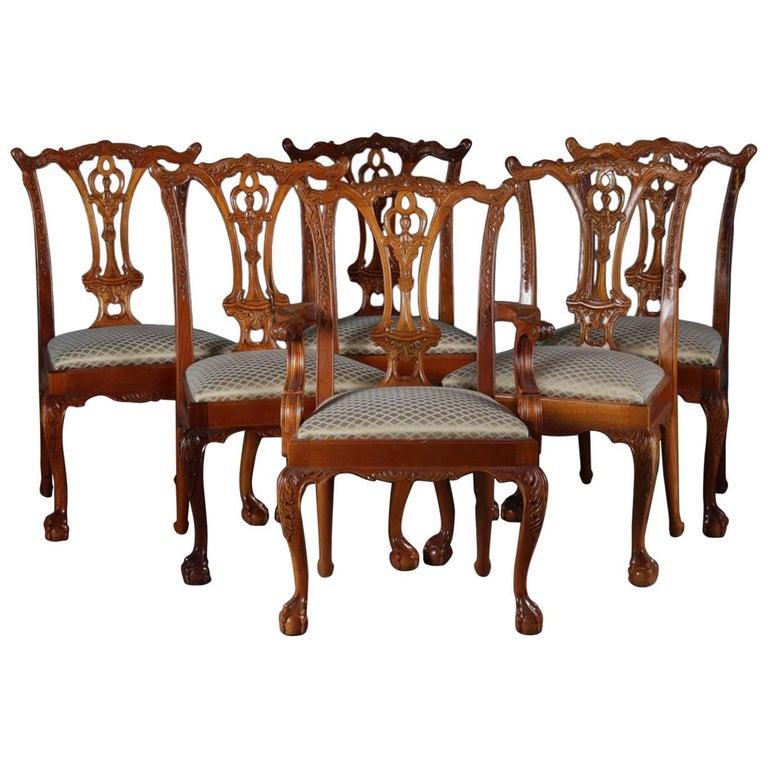 Phenomenal Six Baker School Carved Mahogany Chippendale Style Ribbon Short Links Chair Design For Home Short Linksinfo