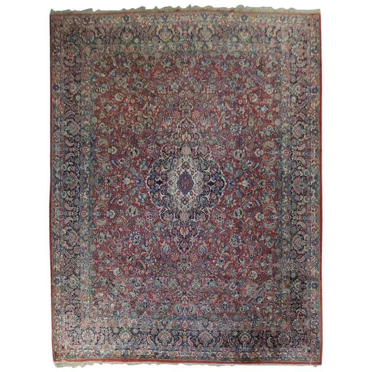 Antique Hand-Knotted Wool Sarouk Persian Carpet, circa 1930