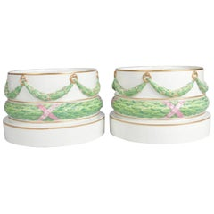 Pair of Meissen Hand-Painted and Gilt Draped Garland Porcelain Sculpture Plinths