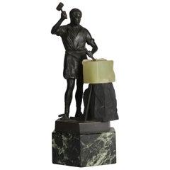 "Figural Cast Bronze Portrait Sculpture of Classical ""Self-Made Man"", Signed Kerk"